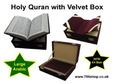 Holy Quran in Velvet Gift box ( Large Arabic Text ) Islamic A4 size Qur'an (NEW)